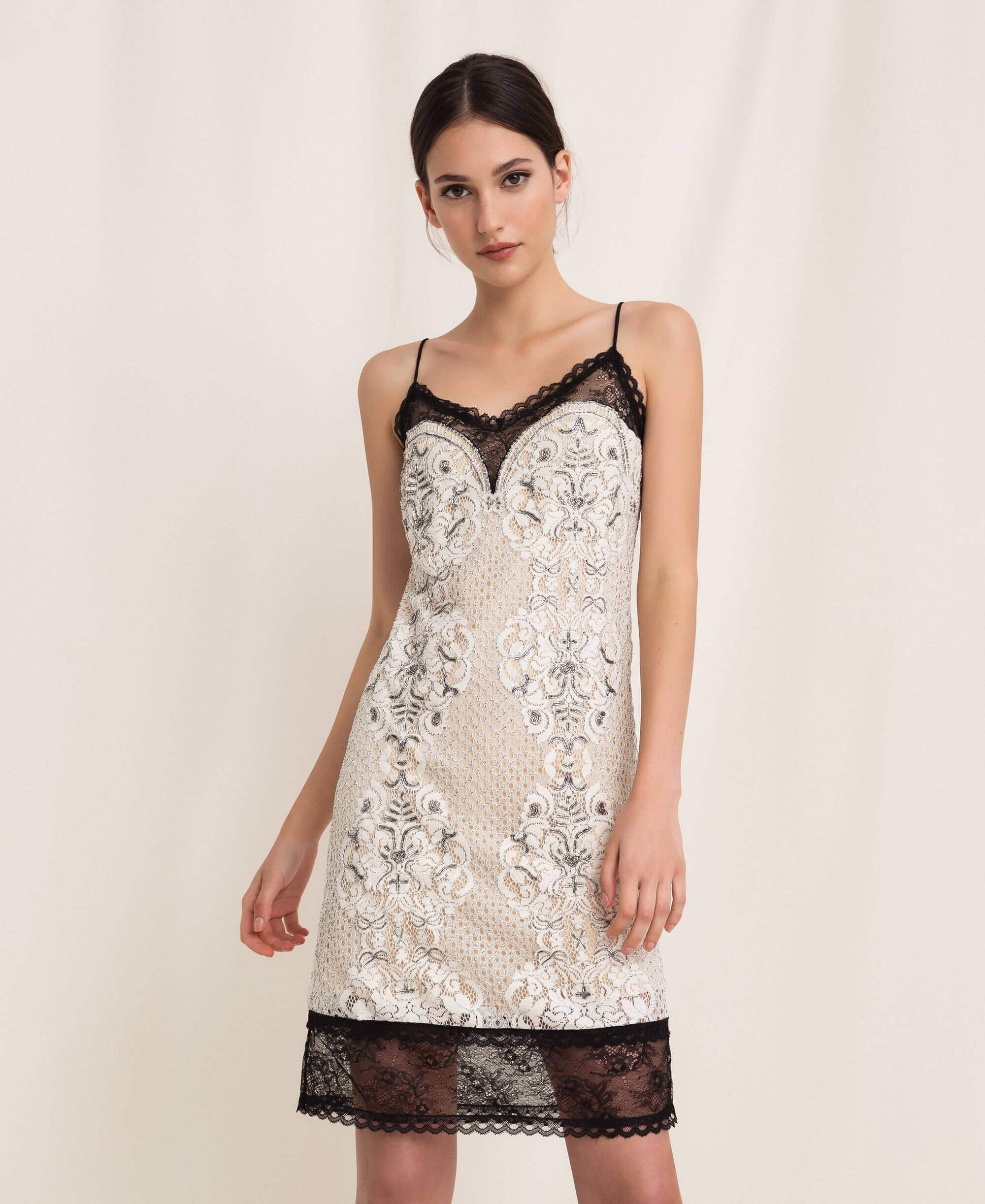 TWINSET Lace slip dress with embroidery - Beige and Black