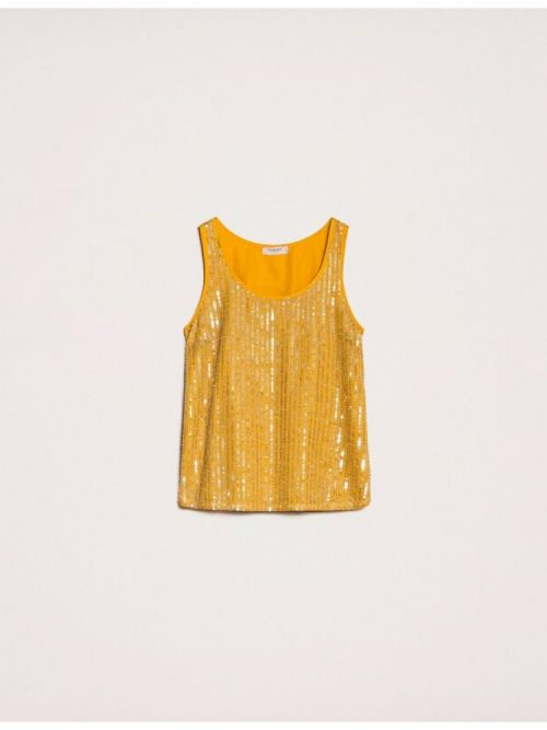 TWINSET FULL SEQUIN AND CRYSTAL BEAD TOP - YELLOW
