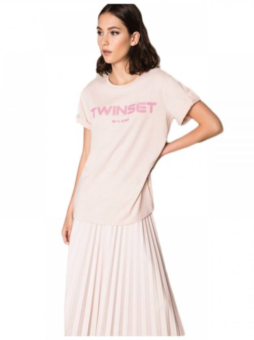 TWINSET T-SHIRT WITH RELIEF LOGO-PINK