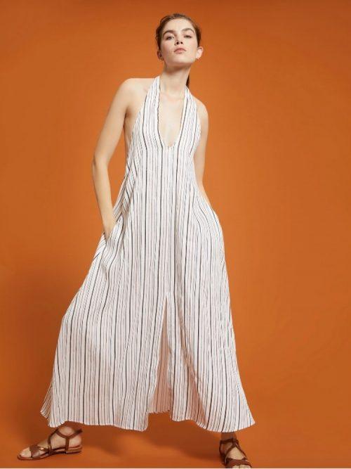 Pennyblack Striped linen-cotton dress - Ivory pattern