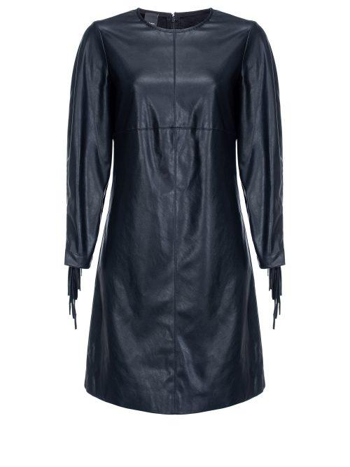 PINKO LEATHER-LOOK DRESS WITH FRINGE - BLACK