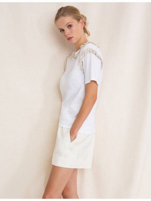 TWINSET T-SHIRT WITH FRINGES AND PEARL EMBROIDERY - WHITE