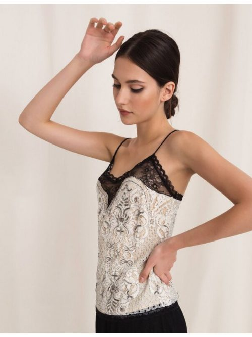TWINSET LACE TOP WITH EMBROIDERY - BEIGE AND BLACK