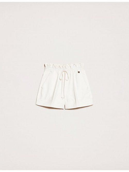 TWINSET LINEN BLEND SHORTS - OFF WHITE