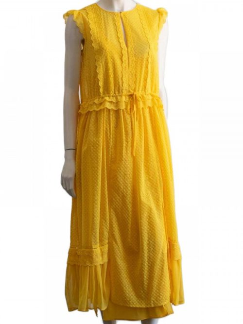 TWINSET MIDI DRESS - BRODERIE ENGLAISE -YELLOW