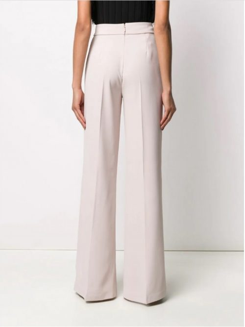 PINKO BUTTON WAIST FLARED TROUSERS - OFF WHITE