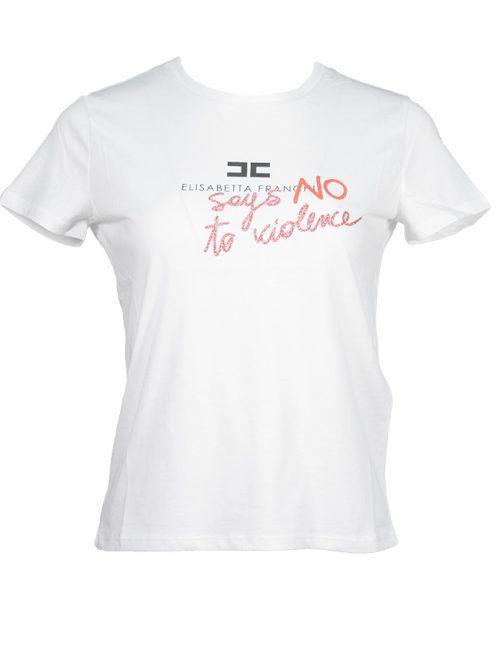 "ELISABETTA FRANCHI ""NO TO VIOLENCE"" T-SHIRT - WHITE"