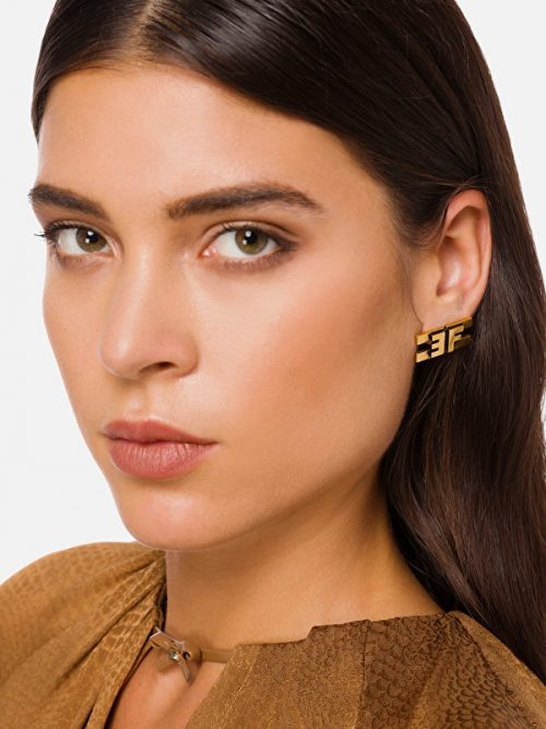 ELISABETTA FRANCHI EARRINGS WITH AGED LOGO - GOLD