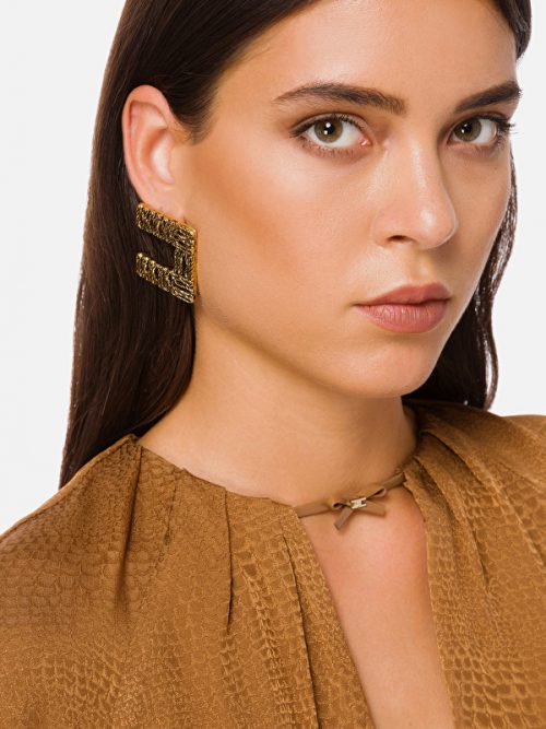 ELISABETTA FRANCHI EARRINGS WITH LOGO - GOLD