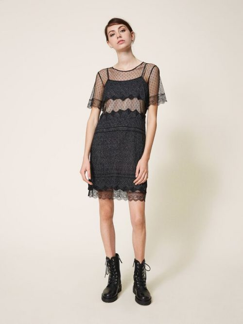 TWINSET KNIT DRESS WITH LACE STITCH AND TULLE - BLACK