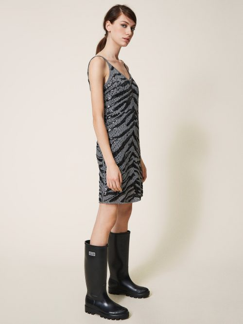 TWINSET SLIP DRESS WITH ANIMAL PATTERN SEQUINS