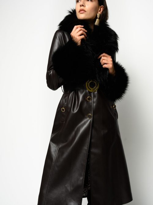 PINKO LEATHER-EFFECT COAT WITH FAUX FUR