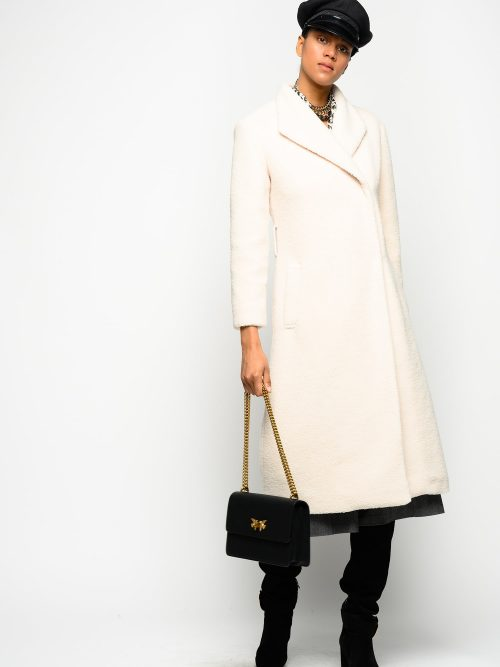 PINKO LONG COAT IN TEDDY FAUX FUR