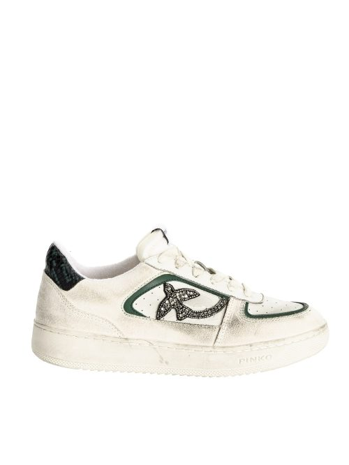 PINKO FLAT LEATHER SNEAKERS WITH STONES