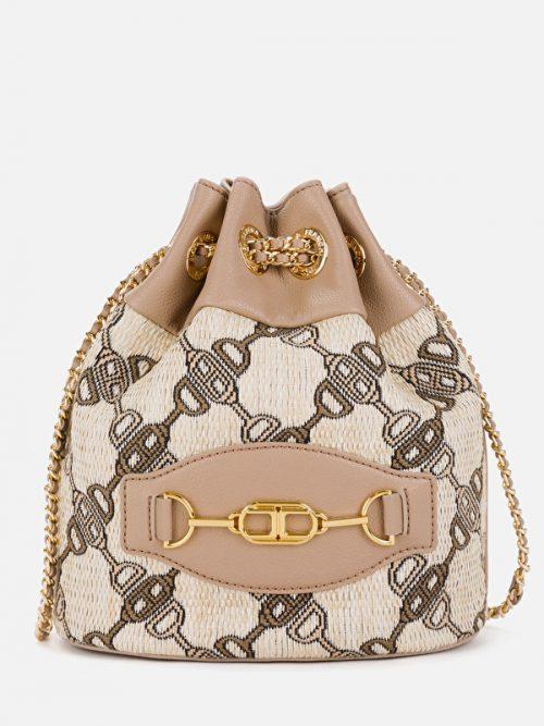 Εlisabetta Franchi Jacquard bucket bag with horse bit print
