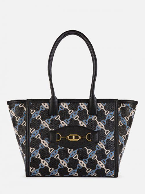 Elisabetta Franchi Jacquard maxi tote bag with horse bit print