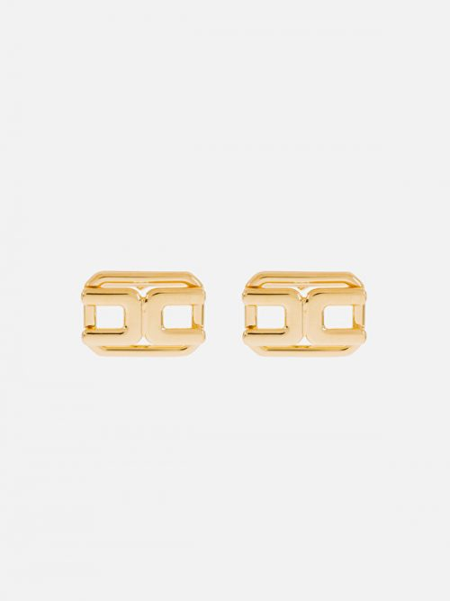 Elisabetta Franchi light gold earrings with logo