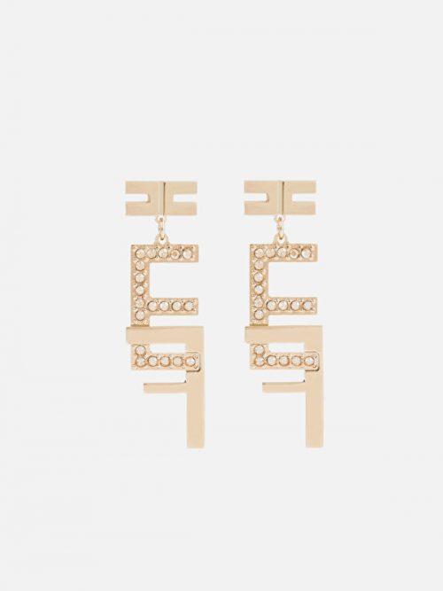 Elisabetta Franchi double logo pendant earrings made of rhinestones