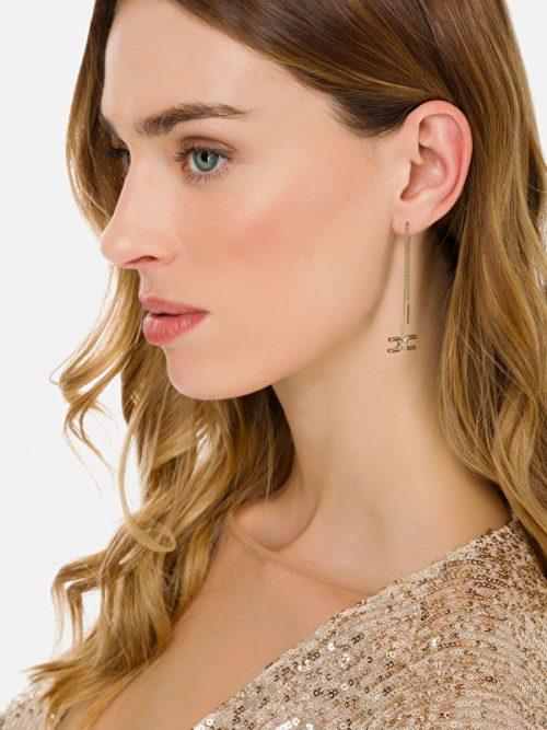 Εlisabetta Franchi String pendant earrings with Elisabetta Franchi logo