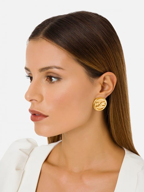Elisabetta Franchi Button earrings with gold logo