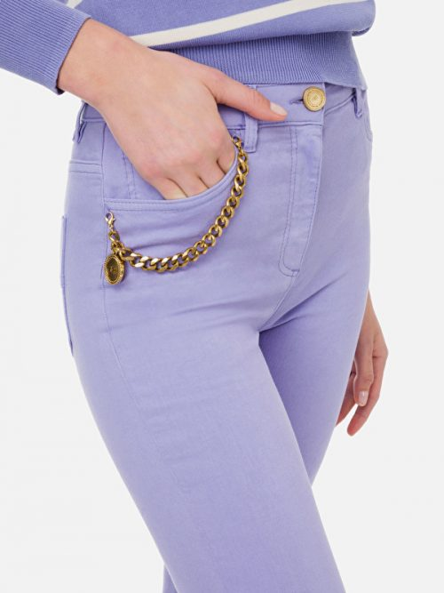 Elisabetta Franchi Super skinny denim trousers with charm