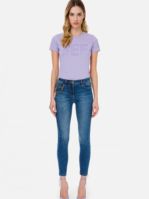 Εlisabetta Franchi Skinny jeans with aged gold charm