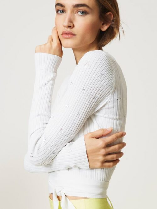 Twinset Lynx' ribbed cropped cardigan