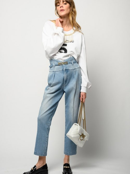 PINKO BUSTIER-STYLE HIGH-WAIST CHINO JEANS