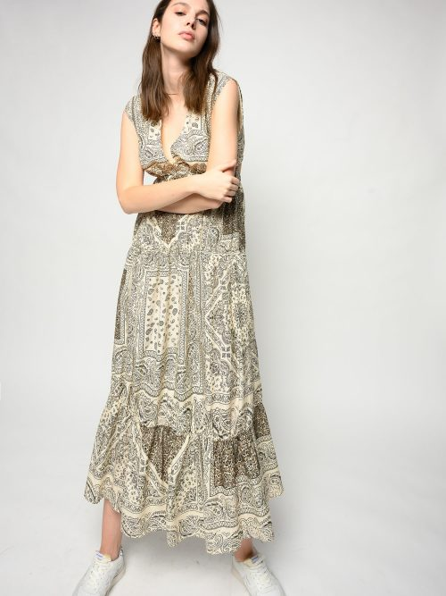 PINKO LONG BANDANA-PRINT DRESS