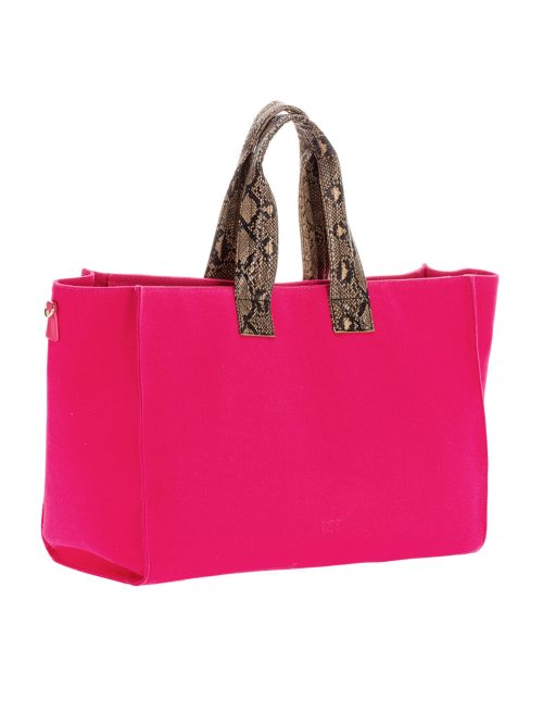 PINKO BIG SHOPPING BAG IN RECYCLED CANVAS