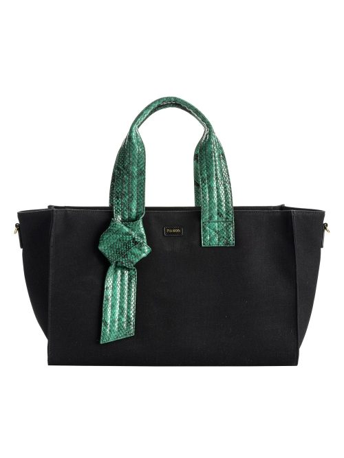 PINKO MEDIUM SHOPPING BAG IN RECYCLED CANVAS