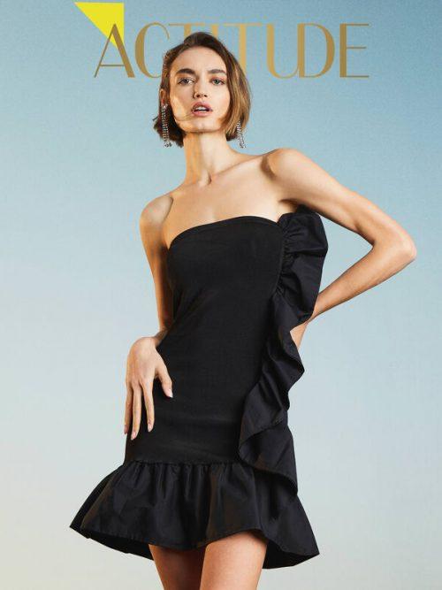 Twinset 'Lynx' sheath dress with flounce
