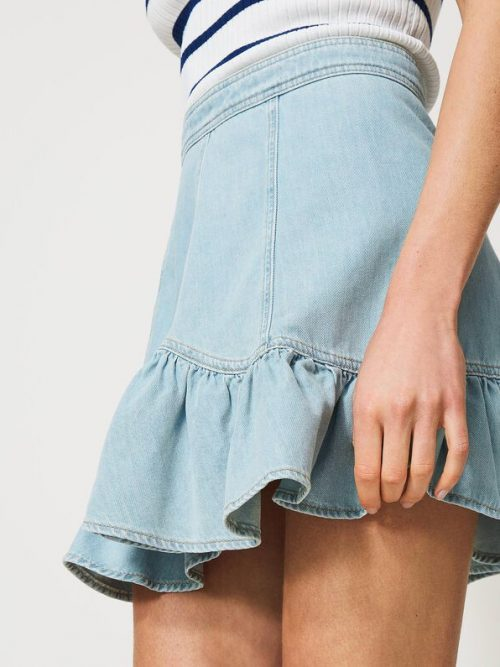 Twinset Denim miniskirt with flounce