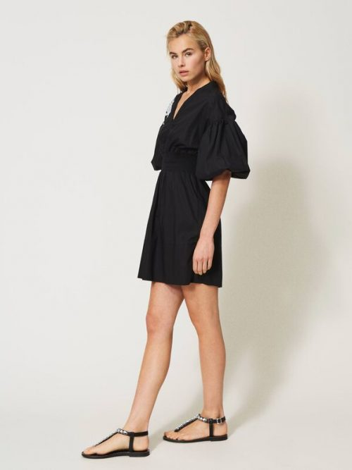 Twinset Poplin dress with embroidery
