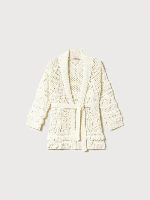 Twinset Lace stitch maxi cardigan with fringes Add to Wishlist
