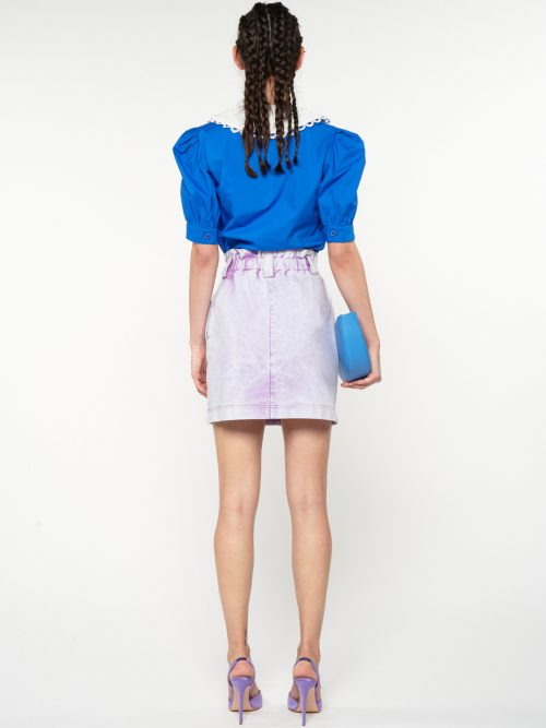 WE_ARE SKIRT ELASTICATED WAISTBAND MINI ACID-WASH