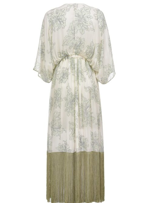 PINKO HAWAII-PRINT PEPLUM DRESS