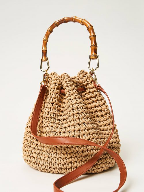 Twinset Weaved raffia bucket bag