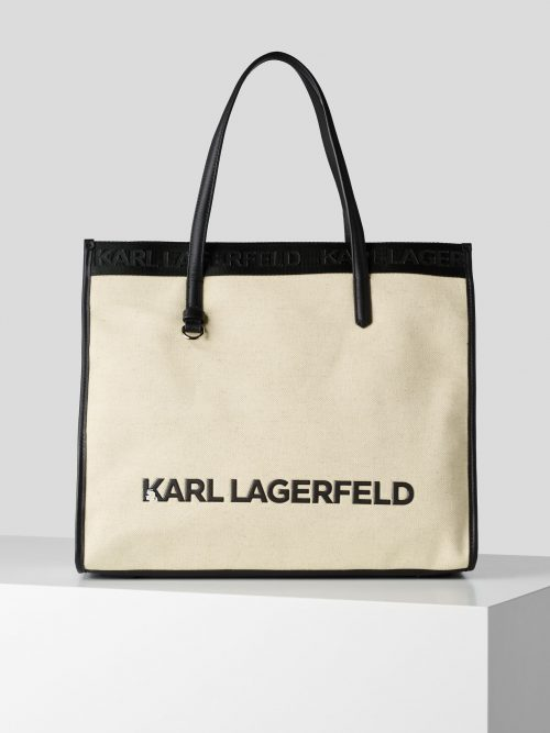 KARL LAGERFELD K/SKUARE CANVAS TOTE