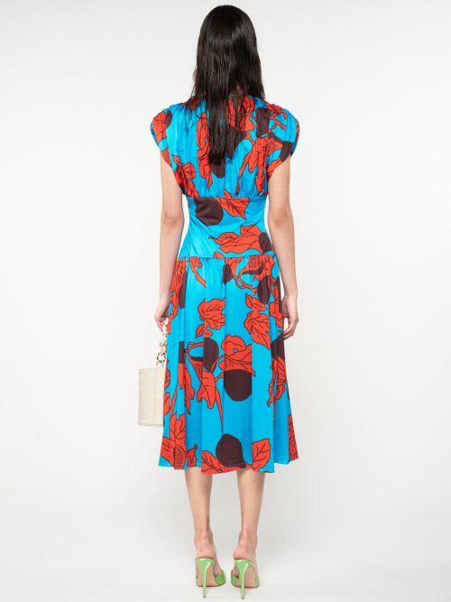 WE_ARE JERSEY FITTED WAIST MIDI PRINTED DRESS