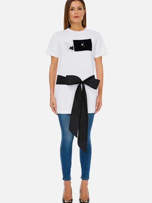Elisabetta Franchi t-shirt with shopper and bow print