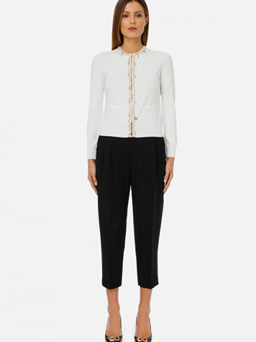 Elisabetta Franchi Long-sleeved tricot top with Elisabetta Franchi charms