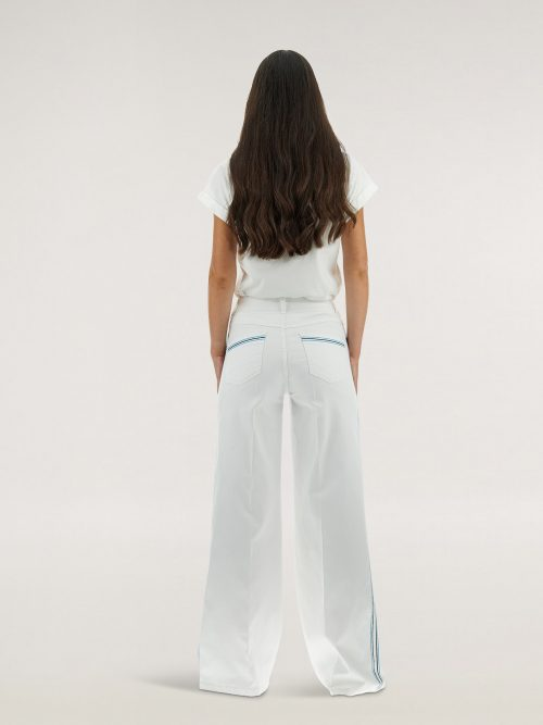 Caractere Jeans palazzo con impunture colorate laterali