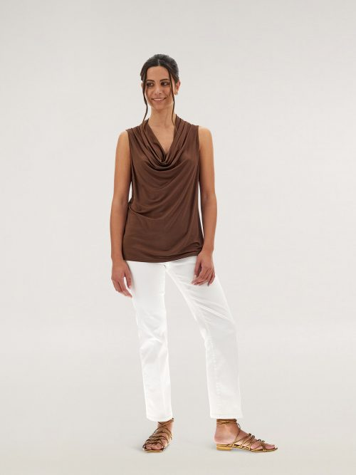 Caractere Top drappeggiato in jersey lucido